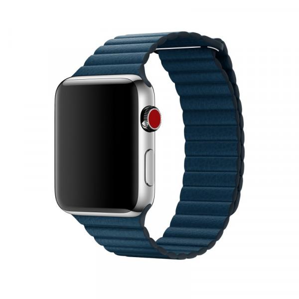Apple Loop Lederarmband Watch 42mm kosmosblau L