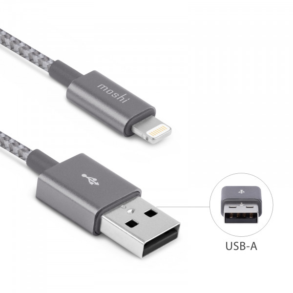 Moshi Integra Lightning zu USB Kabel 1m grau