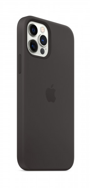 Apple Silikon Case iPhone 12/12 Pro mit MagSafe schwarz