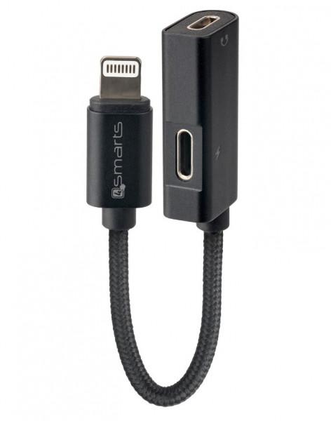 4smarts Lightning auf 2x Lightning Audio Splitter SoundSplit 6cm textil schwarz